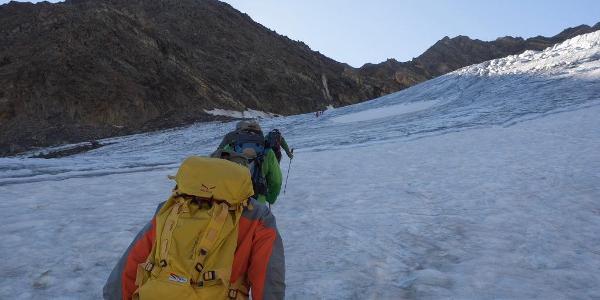 Suldenferner mit Eisseespitze links und Eisseepass in der Ferne