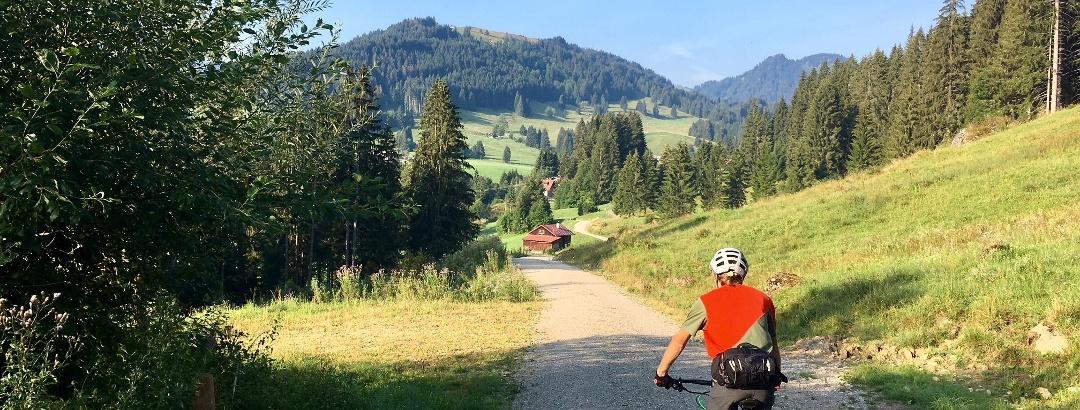 Mountain biking in the valley of Gunzesried (Allgäu)