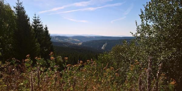 Vogtlandschanze vom Schneckenstein aus gesehen