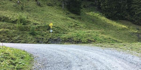 """2.70 km - In Linkskurve am Wegweiser rechts abbiegen vom Fahrweg (""""Heinreichalm"""")."""