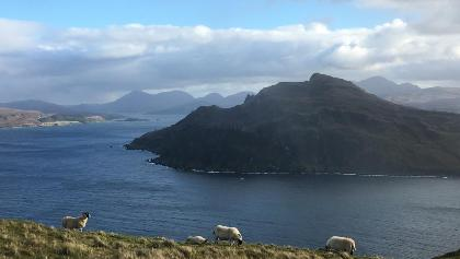 Leave Portree Bay behind and turn left to follow the coastal path.