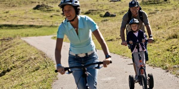 Mit den Bikeboards zurück ins Tal.