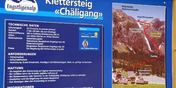 Infotafel Klettersteig Chäligang.