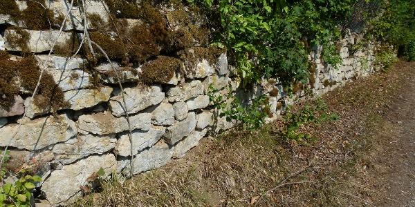 Trockenmauer an der alten Bahnhstrecke