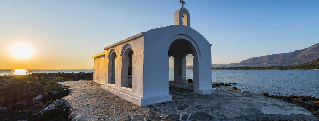 White church in Georgioupolis, Greece