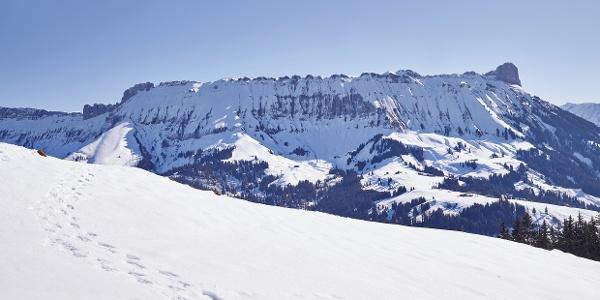Spuren im Schnee, im Hintergrund die Schrattenfluh