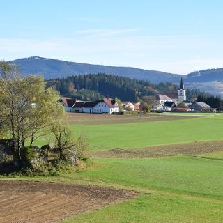 Ein Blick auf St.Oswald vom Stockberg