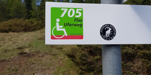 signpost for wheelchair accessible trails
