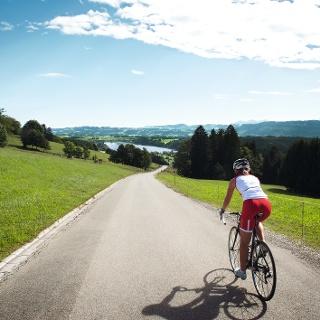 Unterwegs mit dem Rennrad am Niedersonthofener See