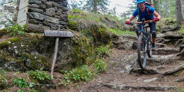 Im zweiten Teil verlangt der Trail technisches Fahrkönnen.