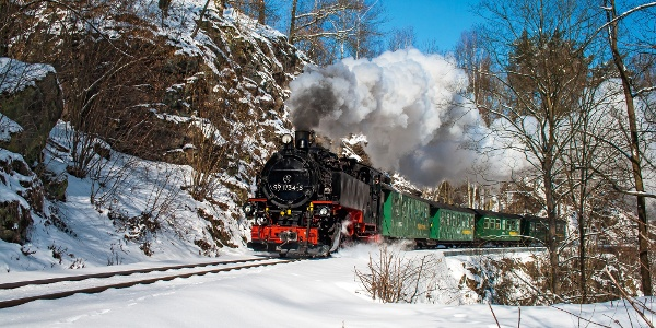 Weißeritztalbahn im Winter