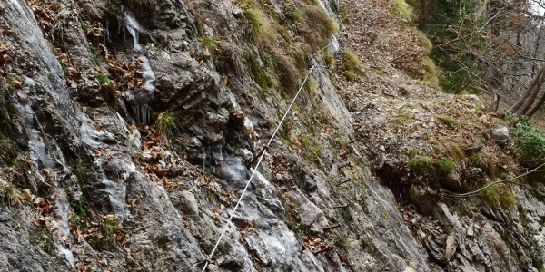 Huda stopnja section - there is a wire rope where a trail used to be