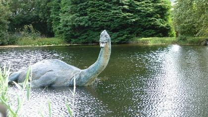 Reconstruction of Nessie as a plesiosaur outside the Museum of Nessie