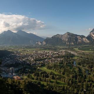 Blick vom Hotel Schloss Wartenstein auf Bad Ragaz