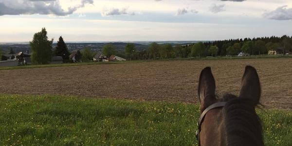 Blick auf das Vogtland von Beerheide/ Ferienhaus Reichelt