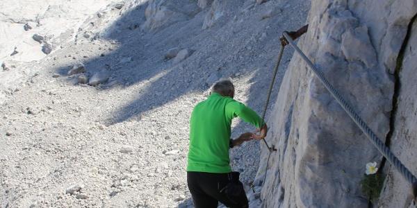 Aufstieg bei Adamekhütte am Stahlseil