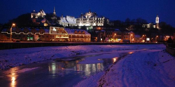 Sighisoara vedere spre cetate de pe podul peste Tarnava