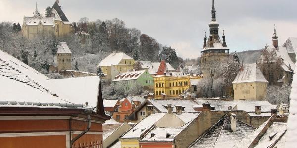Central Sighișoara in the winter