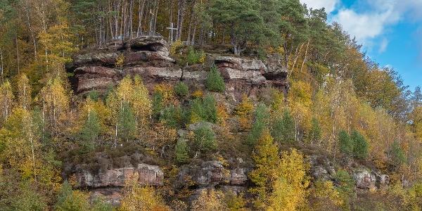 Krappenfelsen, Aussichtspunkt mit Blick über Trulben