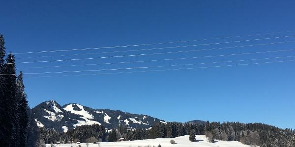 Verschneite Winterlandschaft mit Loipe