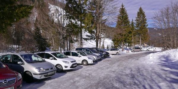 Parkplatz oberhalb der Flugschanze Planica