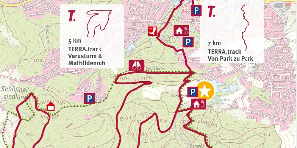 TERRA.track Varusturm & Mathildenruh - Auszug Schautafel Naturpark-Wanderparkplatz Forsthaus