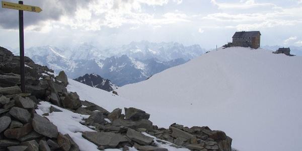 Blick zur Hochstubaihütte nach dem Aufstieg Himmelsleiter