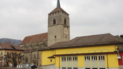 Customs house and St Etienne church in Moudon