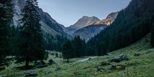 Morgendlicher Blick aus dem Steinriesental hin zum Hochgolling