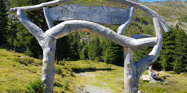 The start of the Zirbenweg Trail