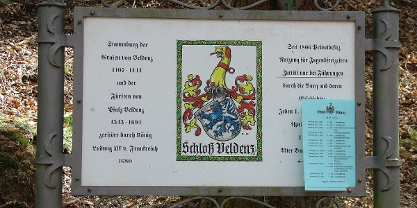 Sign at the Veldenz castle