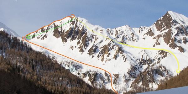 Übersichtsbild Skitour auf das Rieglerjoch und Hörndle - Topo