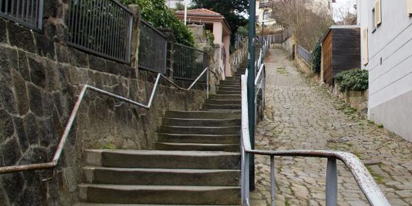 Treppenanlage auf der unteren PLattleite