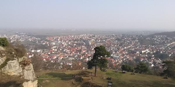 Blick vom Kriemhildenstuhl auf Bad Dürkheim