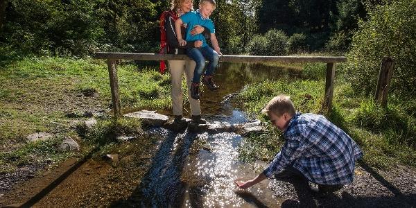 Familie auf dem Märchenwanderweg. Spielen im Wasser der Ilse
