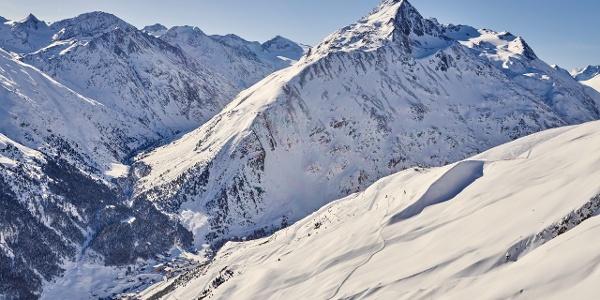 Das Bergsteigerdorf Vent aus der Vogel-Perspektive