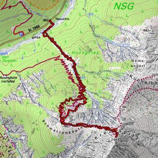 Track mit Aufstieg und Abfahrt