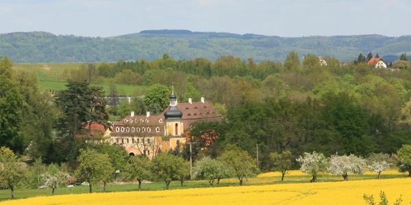 Fernansicht auf das Landschloss Zuschendorf
