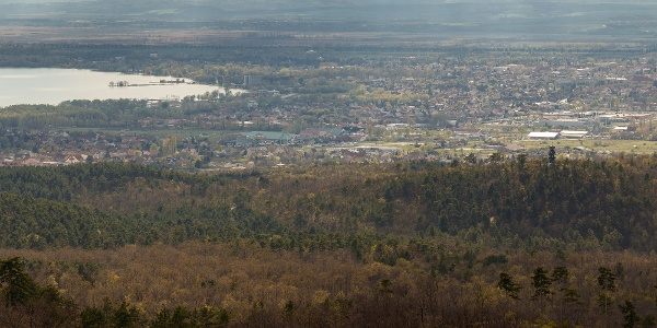 Kilátás a Berzsenyi-kilátóból a Keszthelyi-öböl irányába. Látható a Varsás-hegyen álló Festetics-kilátó is