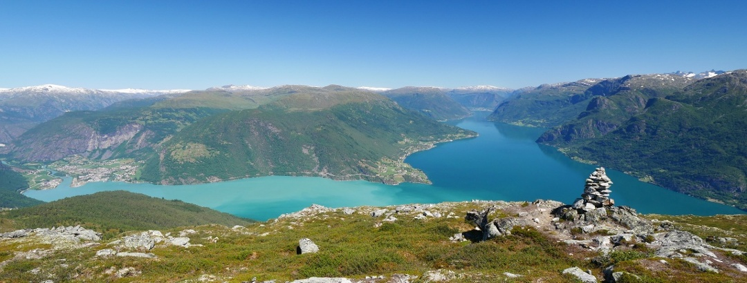 View from the Molden viewpoint over the Lustrafjord