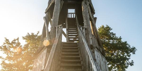 """Hier geht es einige Stufen hinauf auf den Aussichtsturm """"Dietzenley"""""""
