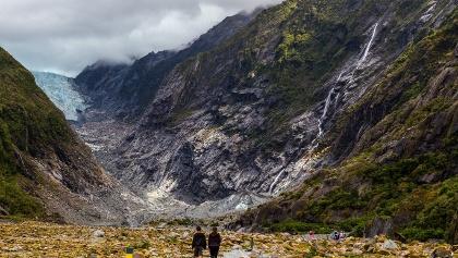 Wanderer am Franz Josef Gletscher