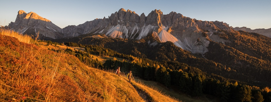 Plose bei Brixen mit Blick auf Geislerspitzen und Peitlerkofel