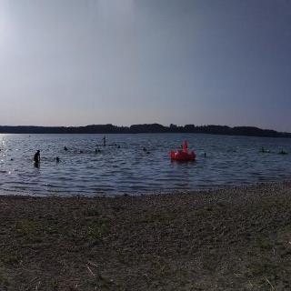 Panorama of the beach at Simsee lake.