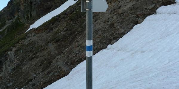 Weggabelung nach dem ersten Aufstieg Richtung Tiroler Scharte