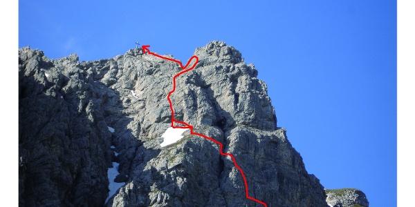 Routenverlauf unterhalb des Gipfels