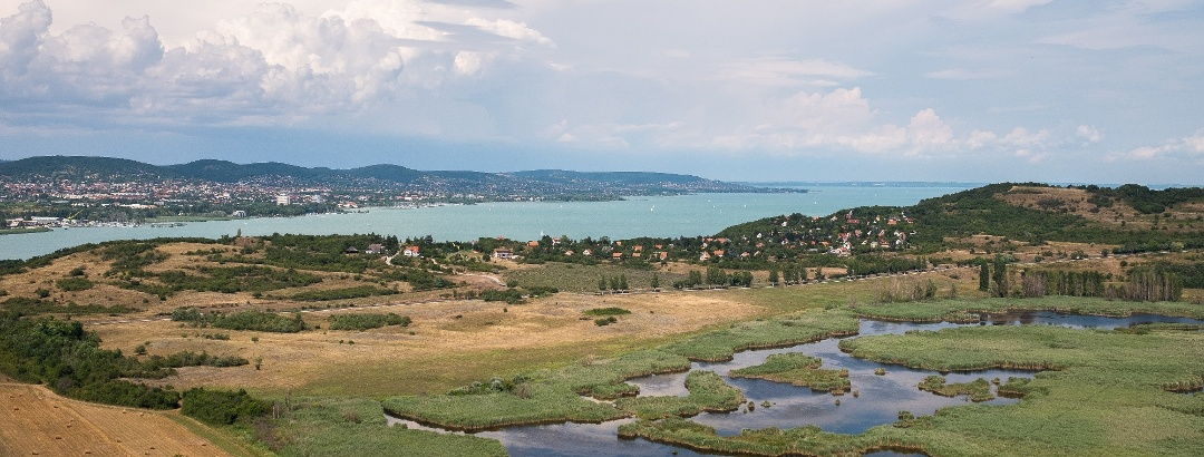 The view over Külső-tó (Outer Lake) and Balatonfüred from Őrtorony (Guard tower) Lookout Tower