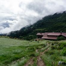 Blick auf die Hütte