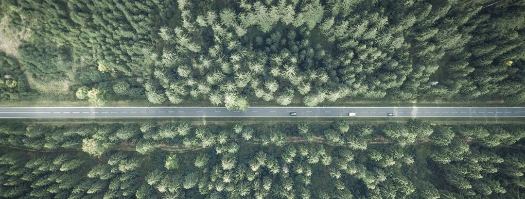 Drohnenaufnahme Landstraße