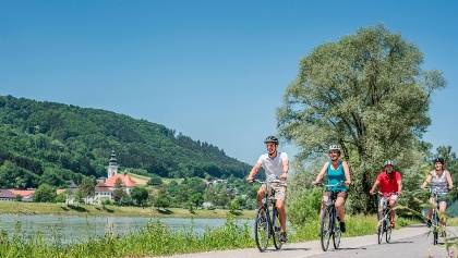 Donauradweg bei Neustift, Blick auf Stift Engelszell